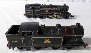 TWO HORNBY DUBLO (3-RAIL) BR BLACK LOCOMOTIVES INCLUDING 2-6-4 800054 TOGETHER WITH 0-6-2T 69567