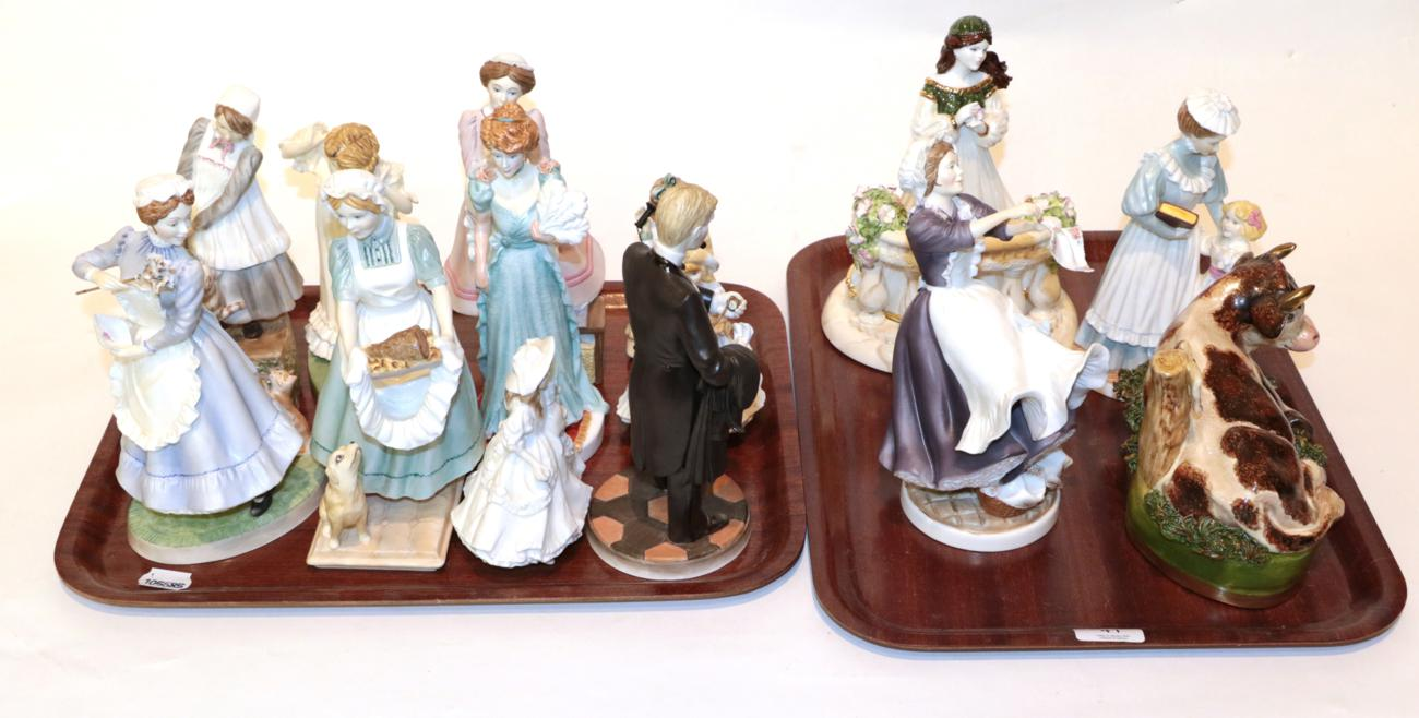 Lot 41 - Nine Royal Worcester 'Upstairs Downstairs' figures; two further Royal Worcester figures; a Royal