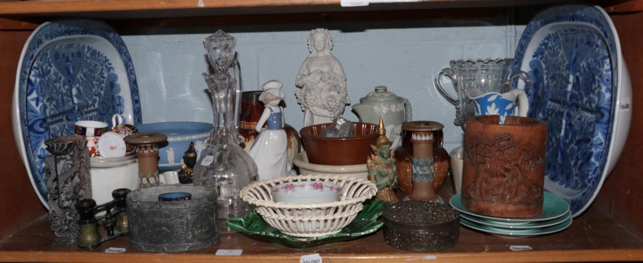 Lot 2 - A quantity of decorative ceramics including: Doulton Lambeth earthenware jug (a.f.), a pair of