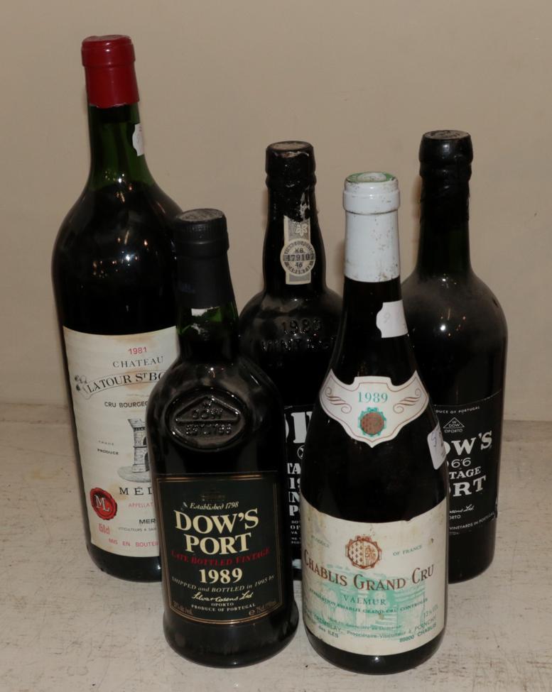 Lot 27 - A mixed parcel of wine comprising: Dow's 1966 Vintage Port (one bottle); Kopke 1983 VIntage Port (