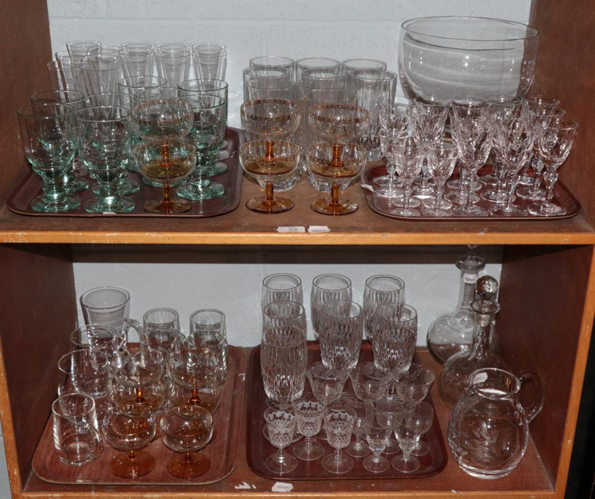 Lot 33 - Waterford crystal glassware; together with two decanters; Dartington crystal bowl; and various other