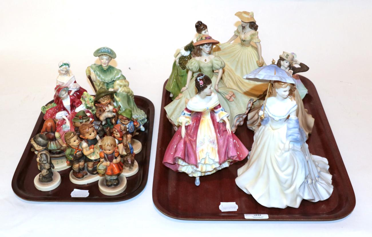 Lot 38 - Two trays of Royal Doulton ladies and Goebel figures