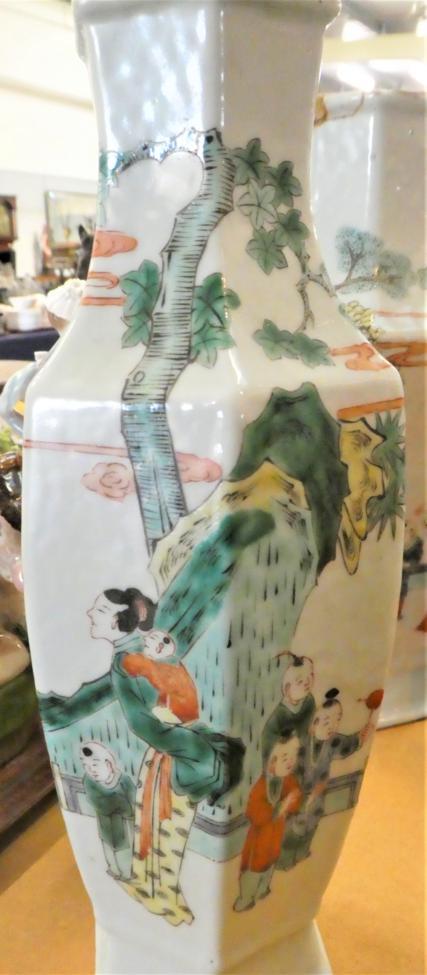 Lot 40 - A pair of Famille verte vases
