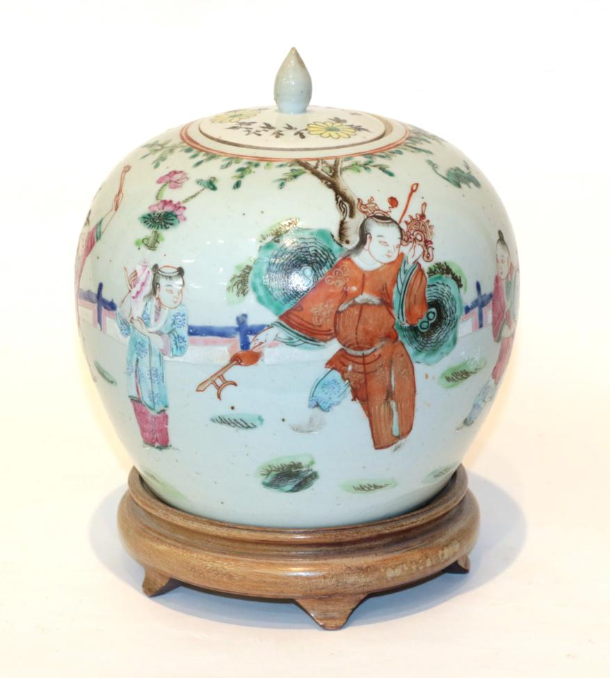 Lot 48 - A late 19th century famille rose vase and cover on stand, circa 1865, with original purchase receipt
