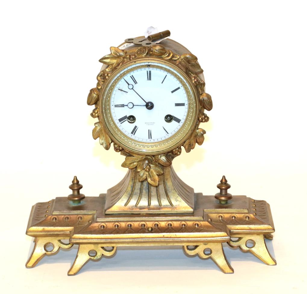 Lot 46 - A gilt metal striking mantel clock, retailed by Wheatley, Carlisle