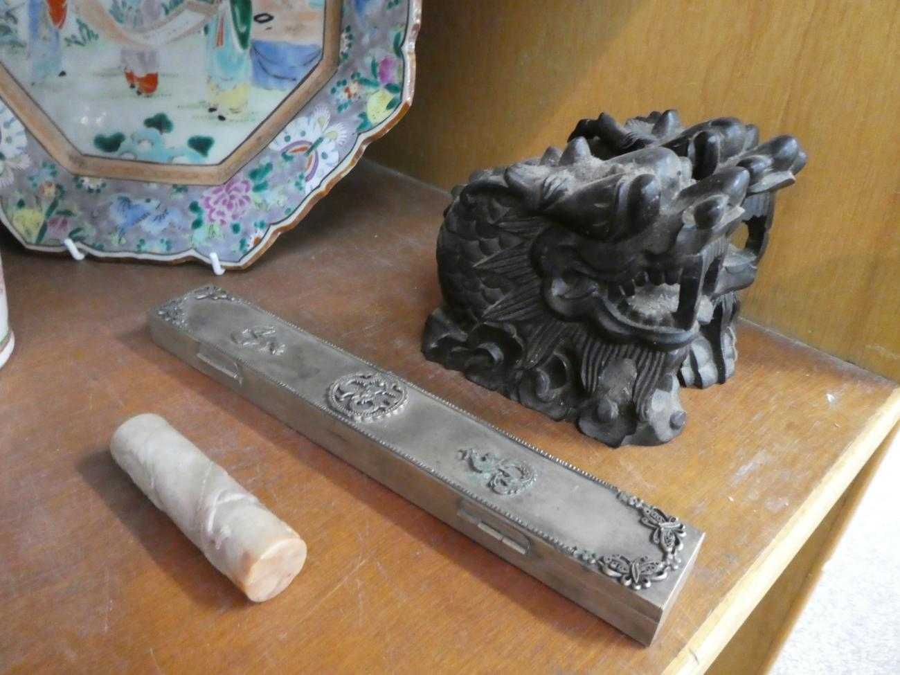 Lot 19 - A silver vessel stamped for Wang Hing, Hong Kong; two Chinese ceramics; carvings etc