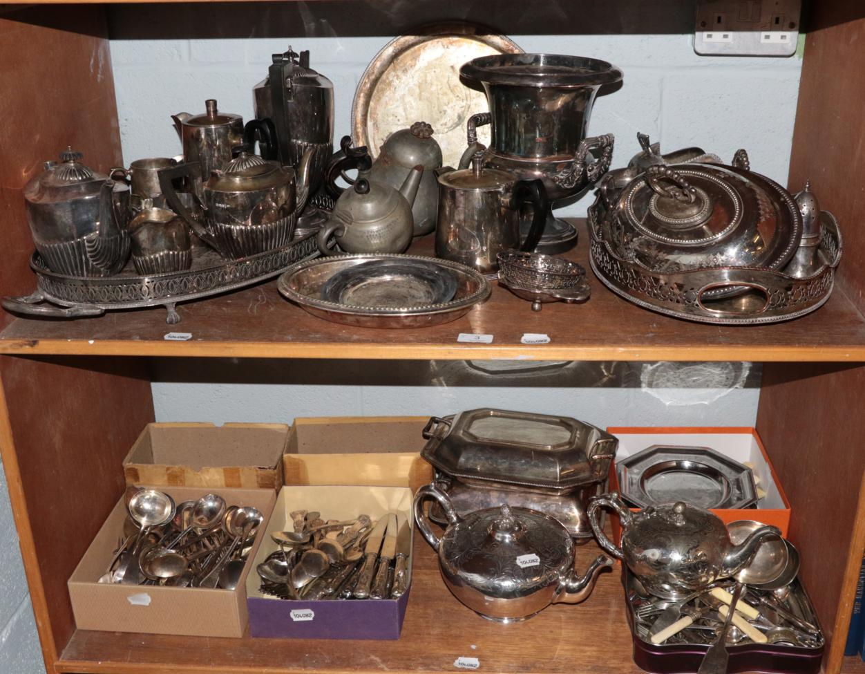 Lot 3 - A large quantity of silver plated wares including wine-cooler, teapots, trays, meat dishes, fiddle
