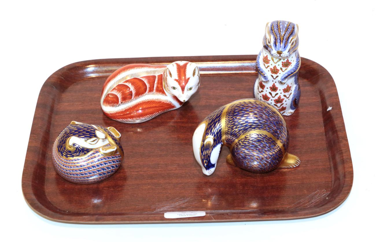 Lot 54 - A Royal Crown Derby Imari palette Fox paperweight; with a badger; and two others (4)