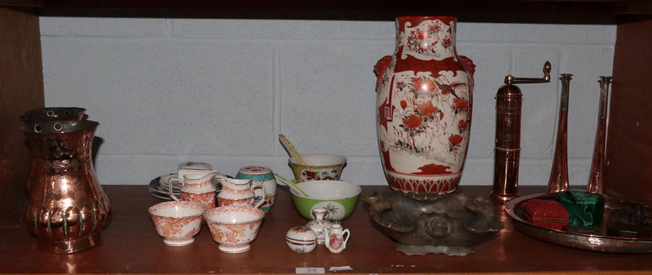 Lot 23 - A Japanese Kutani vase; an octagonal malachite box; a pair of Eastern copper and brass mugs; a