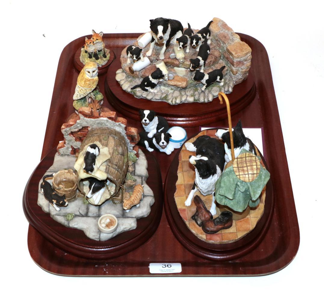Lot 36 - Border Fine Arts collie models: 'Spilt Milk', JH99; 'Let Sleeping Dogs Lie', JH36; and 'A Long Day