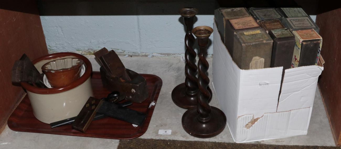 Lot 4 - A collection of pianola rolls (boxed); assorted tools; kitchenalia; two small convex mirrors; and