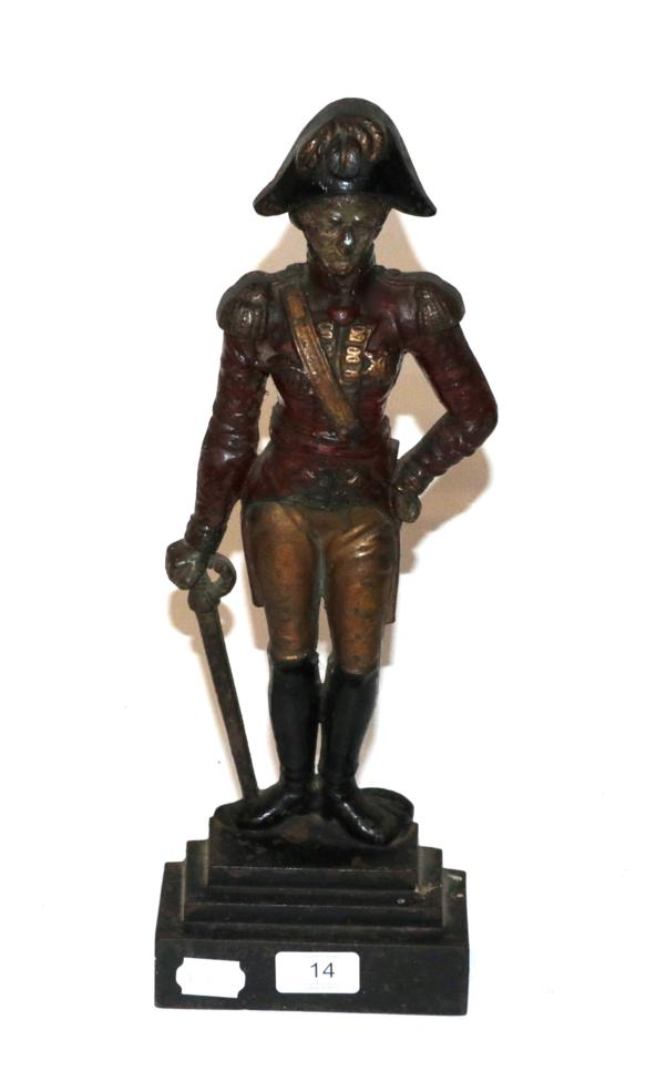 Lot 14 - A painted cast iron doorstop figure of the Duke of Wellington, stepped base