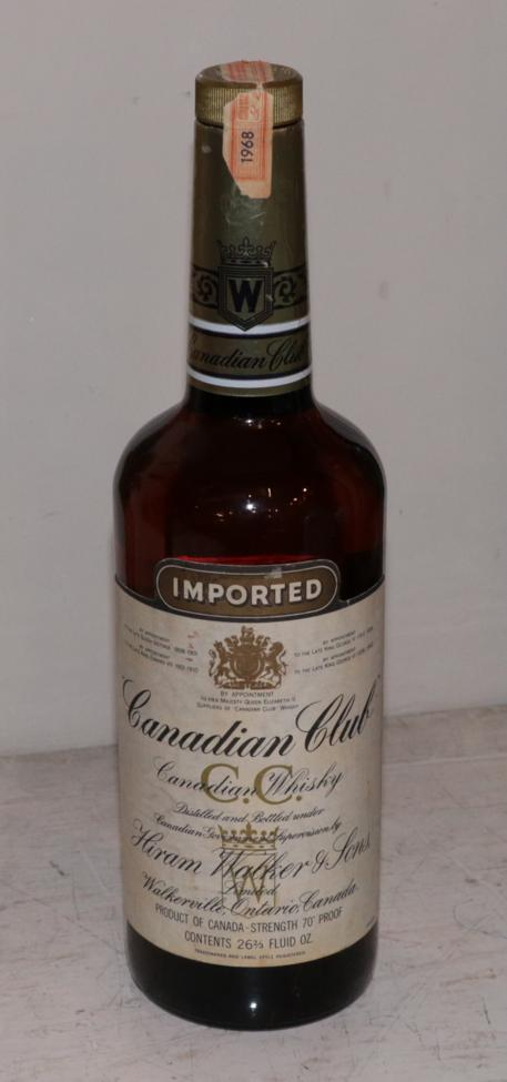 Lot 29 - Canadian Club 1968 Canadian Whisky, Hiram Walker & Sons 70° proof, 26 2/3 fl.oz, 1960s bottling (one