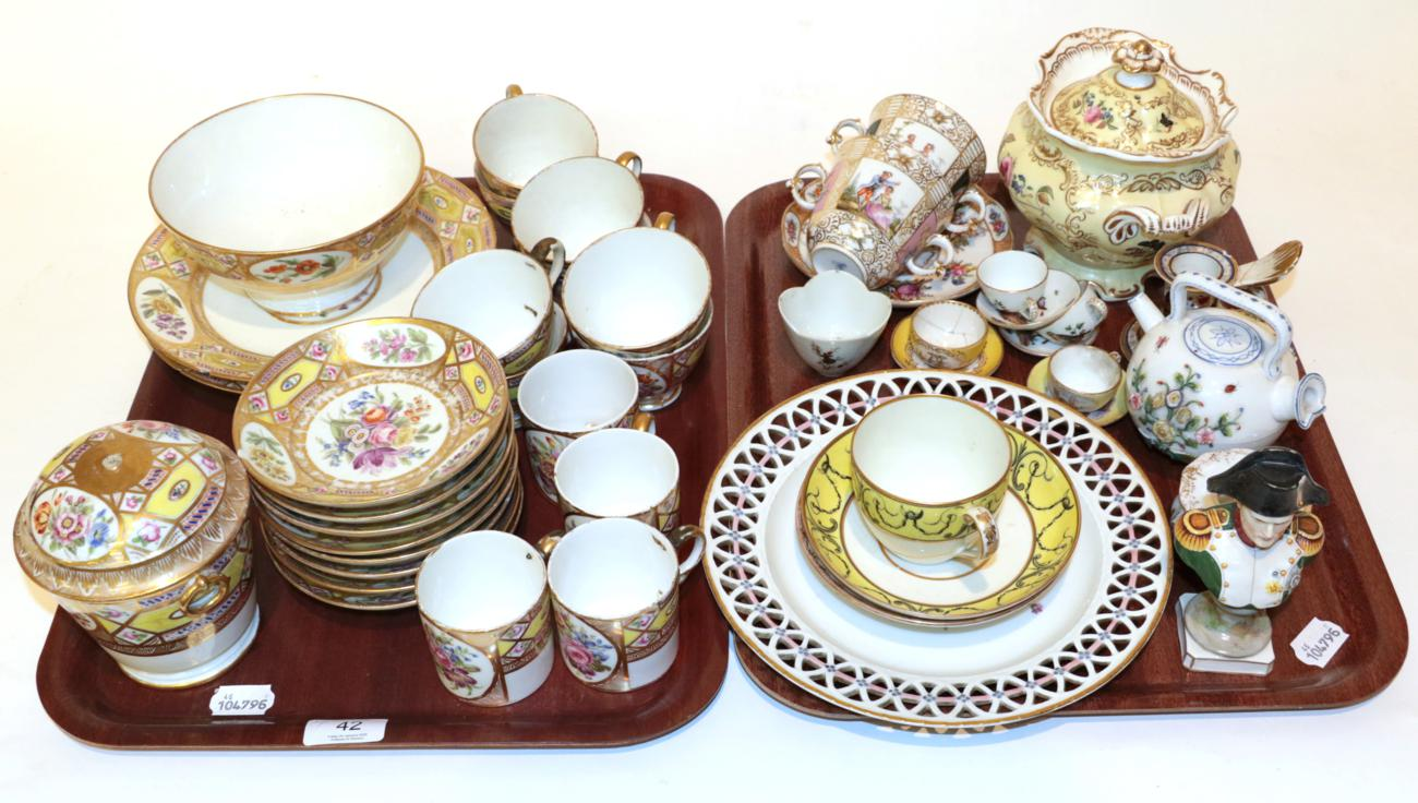 Lot 42 - Two trays of 19th century Continental porcelain including: a gilt floral decorated part tea-service;
