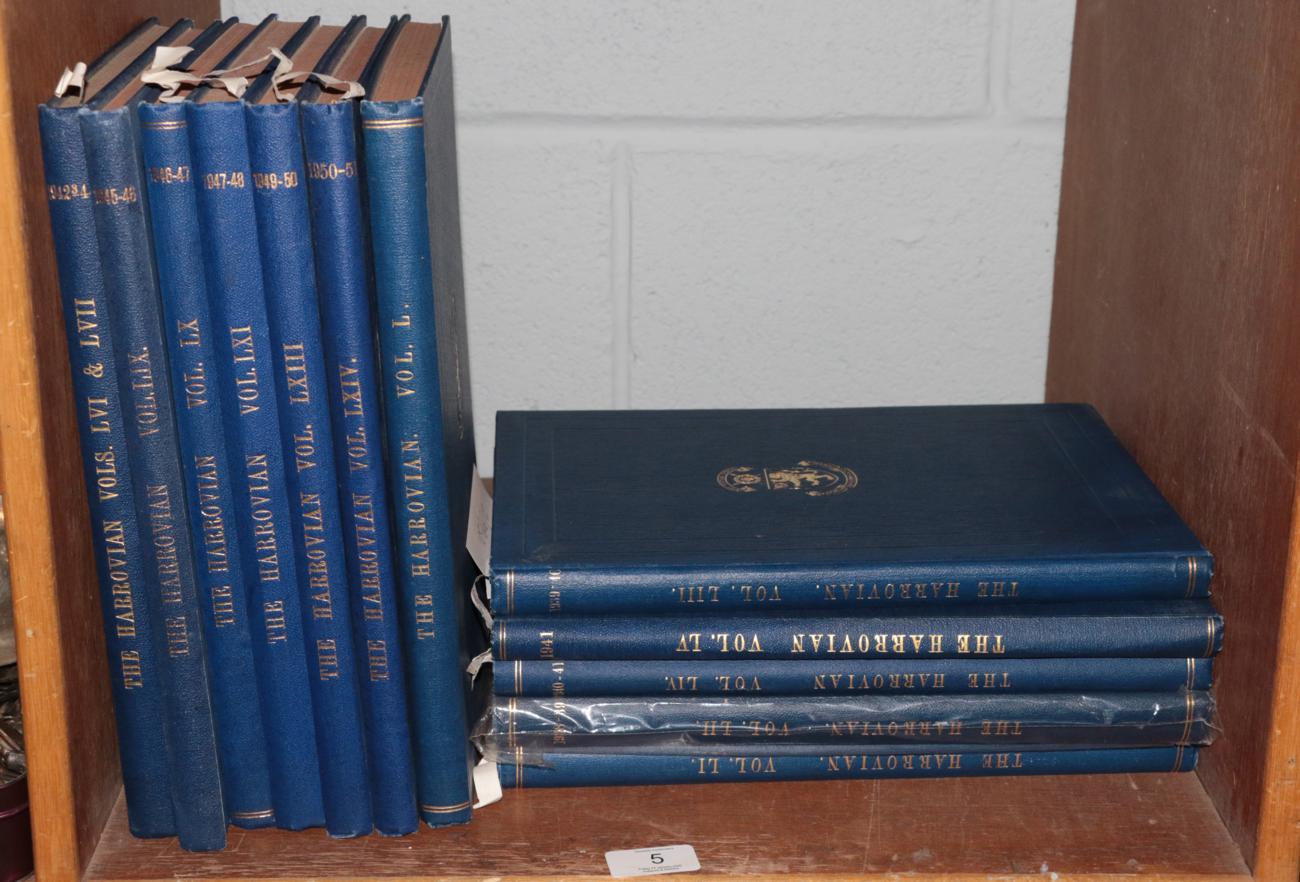 Lot 5 - Winston Churchill interest: The Harrovian, volumes 50-57, 59-61, 63-64, 1936-1951, vol 25 containing