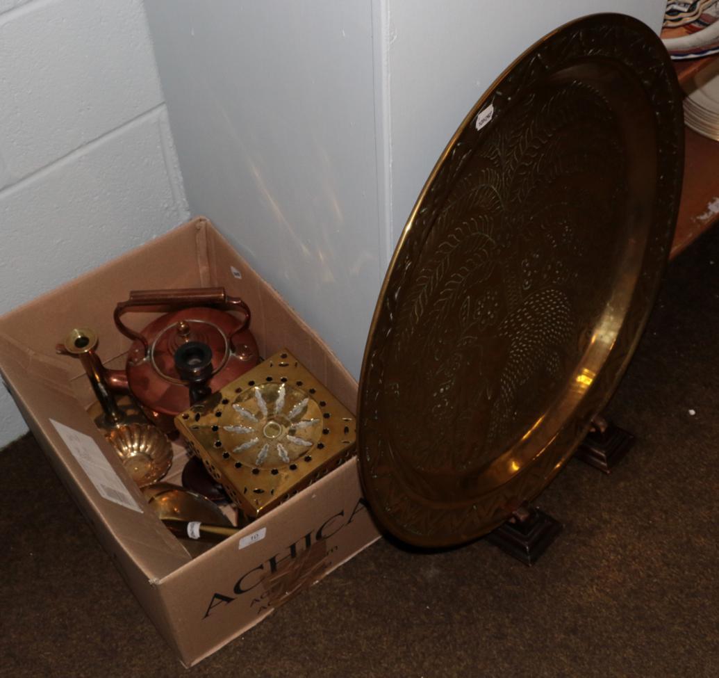 Lot 10 - Large Eastern brass tray, copper kettle, brass trivet etc