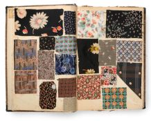 French Fabric Sample Book, circa 1920's Enclosing printed chiffons, woven, brocade silks and velvets