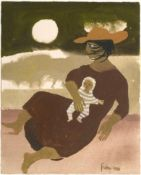 Mary Fedden OBE, RA, RWA (1915-2012) ''Woman and Baby'' Signed and dated 1988, gouache, 19.5cm by