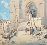 Arthur Henry Knighton Hammond (1875-1970) Figures before a church Signed, watercolour, 48.5cm by