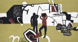 Keith Vaughan (1912-1977) ''The Fishermen'' (1956) for Edinburgh Weavers Screen printed cotton, 29cm
