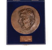 Leo Solomon (1919-1976) Medallion of L.S. Lowry Signed and dated (19)75, numbered 22/300, bronze,