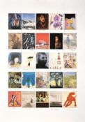 Various Artists ''Founders Print'' Lithograph comprising twenty-five postcard size images signed