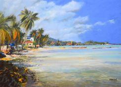 Tony Brummell-Smith (b.1949) ''The Beach South of Lamai, Koh Samui, Thailand'' Signed, inscribed