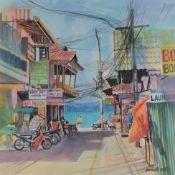 Tony Brummell-Smith (b.1949) ''The Fisherman's Village Koh Samui Thailand'' Signed, inscribed