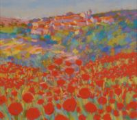 John Holt (b.1949) Poppies in a Tuscan landscape Signed, pastel, 35cm by 40cm Artist's Resale