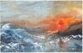 David Baumforth (b.1924) ''Rough seas, Thornwick Bay'' Initialled and dated 2003, mixed media,
