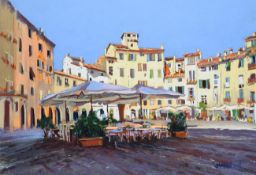 Tony Brummell-Smith (b.1949) ''The Amphitheatro, Lucca, Tuscany'' Signed, inscribed verso and