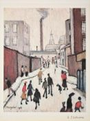 After Laurence Stephen Lowry RBA, RA (1887-1976) ''Street Scene'' Signed, with the blindstamp for