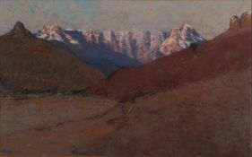 Robert Gwelo Goodman (1871-1939) South African ''Devil's Punchbowl, Drakensberg'' Signed, pastel,