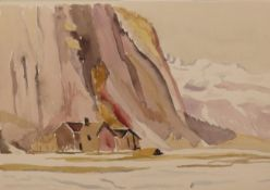 Edith Lawrence (1890-1973) ''In the High Alps'' Signed and inscribed watercolour, together with four