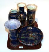 Three Carlton ware chinoiserie vases and two Lawley's pieces similarly decorated