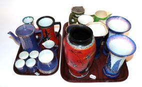 A quantity of Carlton ware ceramics including vases, jugs, coffee cans, etc (two trays)