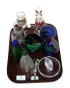 A tray of art glass including three Caithness paperweights, a Lalique ring stand and three