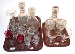 Antique glass comprising a pair of Georgian decanters and a single decanter with stoppers, an