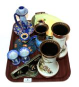 Carlton ware ceramics including chamber sticks, vases and a chinoiserie desk standish