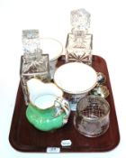 A pair of Royal Crown Derby Cache bowls and a pair of decanters etc
