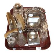 Various silver brushes, dressing table pots, scent bottles, frames etc, with various dates and