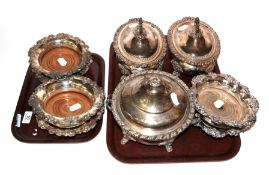 Three plated tureens with covers together with three pairs of plated wine coasters (9)