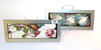 Two limited edition Moorcroft plaques (2). Plaque size - 31cm by 10.5cm (excluding frame). Other -