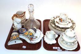 Two trays of ceramics including Royal Doulton character ware plates, Losal ware, etc
