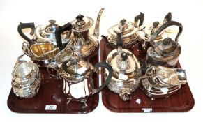 A collection of various plated tea sets (15)
