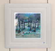 Emma Davis RSW (Contemporary) ''Dawn Chorus'' Signed, inscribed verso, oil on board, 28.5cm by