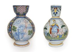 A French Faience Jug, probably Rouen, dated 1736, of ovoid form with flared neck and loop handle,