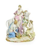 A Meissen Porcelain Figure of Europa and the Bull, circa 1880, Europa sitting on the bull's back,
