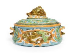 A George Jones Majolica Game Pie Tureen, Cover and Liner, circa 1875, of oval form with boar's