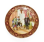 A Vienna Style Porcelain Plaque, circa 1900, of circular form, painted with ''Wallensteins